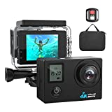 #5: 4K WIFI Action Camera Ultra HD Waterproof Sport Camera 16MP 173 Degree Wide Angle, Free Travel Bag