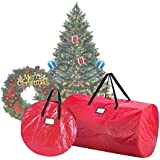 Elf Stor 1016 Combo Christmas Set in Red 9 Foot Artificial Trees & 30-Inch Wreath Storage Bag, 30 Inch ft