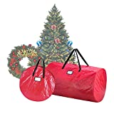 Elf Stor Deluxe Red Christmas Tree Storage Bag for 9 foot Artificial Trees & 30'' Inch Wreath Bag