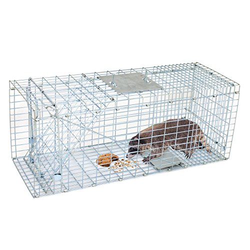Smartxchoices Live Animal Cage Trap 32' One-door Steel Catch and Release Humane Rodent Cage for Raccoon, Rabbits, Stray Cats, Squirrel, Groundhogs, Opossums, Armadillos