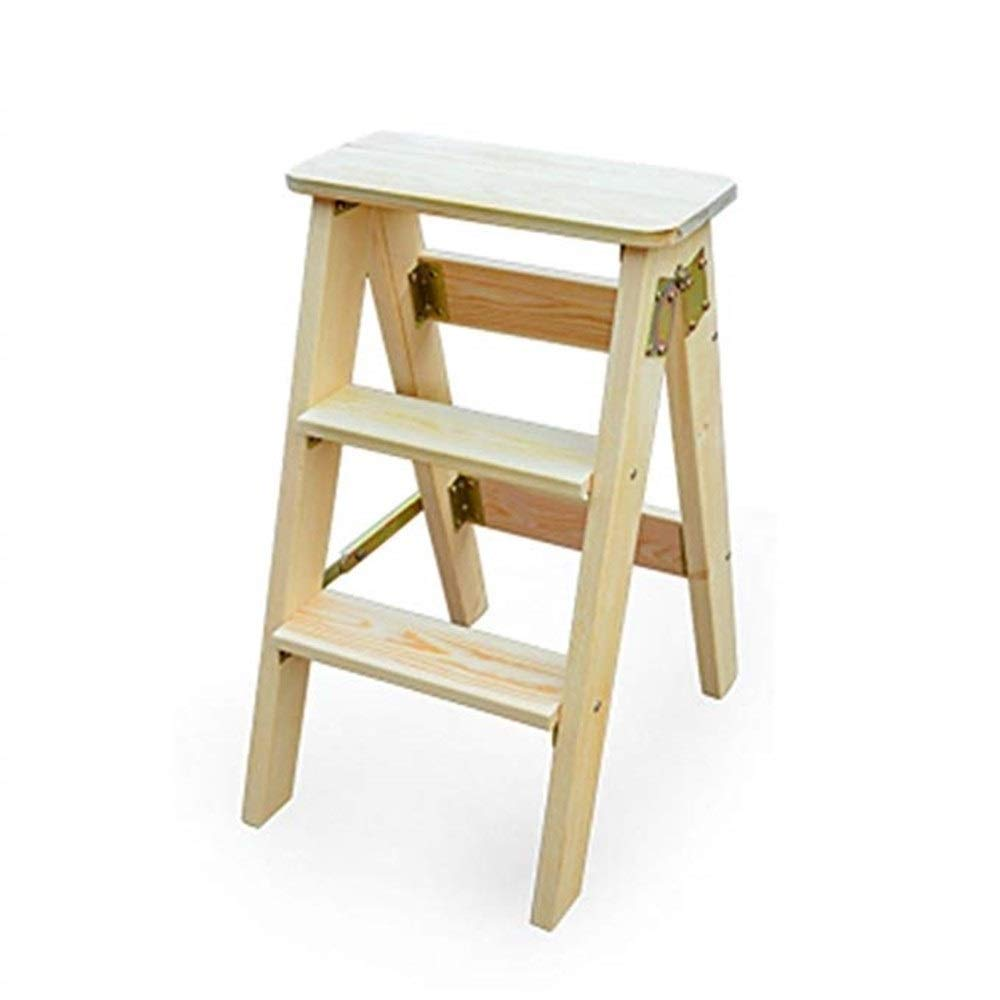 B RMJAI Step Stool Chairs Step Stool Wooden Utility Step Multi-Functional Small Ladder 3 Steps (color   A)