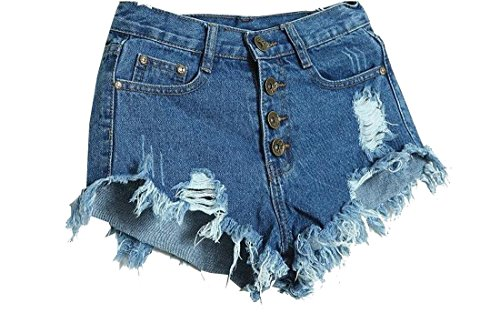 Waist Tassel Hole Denim Shorts (Blue) - 9