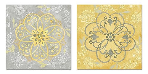 Jacobean Floral Print - Gango Home Décor Lovely Yellow and Grey Jacobean Damask Floral Patterned Print Set; Two 12x12in Paper Posters