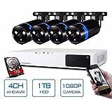 GOWE Security Camera System 4ch CCTV System DVR Security System 4CH 1TB 4 x 1080P Security Camera 2.0mp Camera DIY Kits