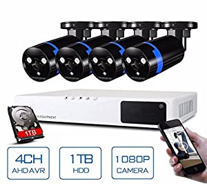 GOWE Security Camera System 4ch CCTV System DVR Security System 4CH 1TB 4 x 1080P Security Camera 2.0mp Camera DIY Kits