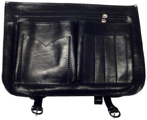 Alberto Bellucci Mens Italian Leather Comano Double Compartment Messenger Satchel Bag in Black by Alberto Bellucci (Image #2)