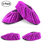 Wispun 5 pairs Washable thick non-slip bottom shoe covers velvet shoes cover Reusable Shoe Covers for Household,Office,Machine Room and Realtors(Purple)