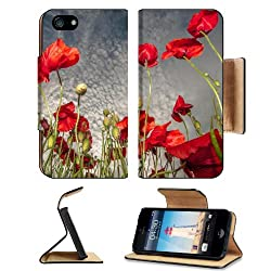 Red Poppies Field Cloudy Sky Apple iPhone 5 / 5S Flip Cover Case with Card Holder