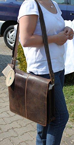 Bolsa de hombro 1739A de 25Bandolera XL Messenger 36cm Piel de Greenburry.