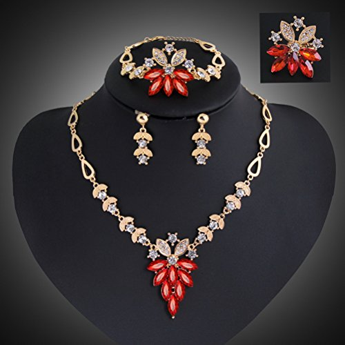 Hollow Heart Shaped Red Diamond Earrings Triangular Flower Necklace Bracelet Ring a Family of Four Loaded