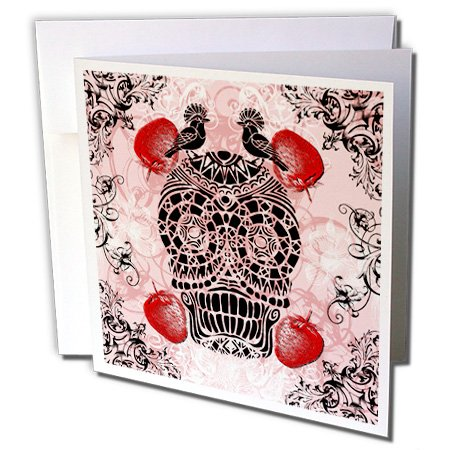 3dRose Russ Billington Designs - Black and Pink Skull with Strawberries and Swirly Scrolls - 1 Greeting Card with envelope (gc_220391_5) (Card Scroll)
