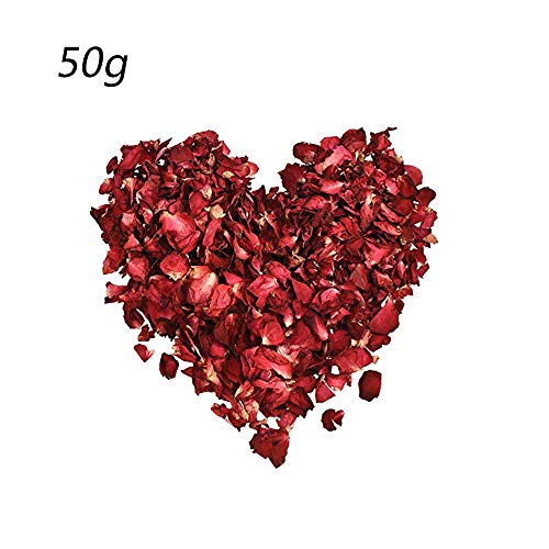 (CHDHALTD 50g Dried Red Rose Petals, Real Rose Flower Petals for Wedding Party Decoration Wedding Table Confetti Pot Petal Flower Bath, Foot wash,Romantic Night Bath Salts)