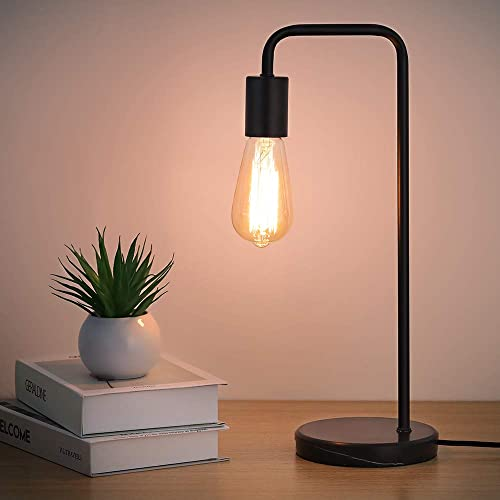 HAITRAL Modern Desk Lamp – Bedside Table Lamp, Industrial Lamp for Bedroom, Office, Living Room with Marble Base – Black