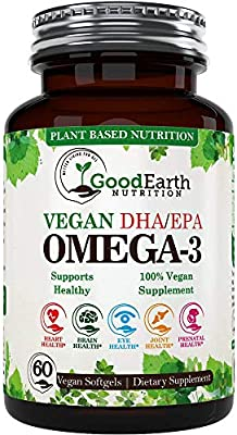 Amazon Com Vegan Omega 3 Potent Plant Based Algal Dha Epa From Marine Algae Better Than Fish Oil 60 Veggie Softgels Supports Brain Heart Joints Prenatal Health