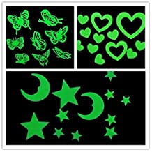 EWIN(R) 2pcs Glow in the Dark Moon Stars Butterfly Constellation Music Wall Bed Stickers