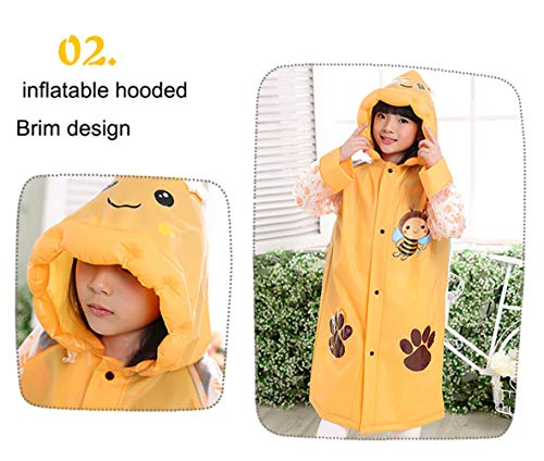Sywwlov Kids Toddler Raincoat Hooded School Backpack Reusable Rain Ponchos Cape Jacket Rainwear (Pink, M(Fit 42.9''-46.8'' Height)) by Sywwlov (Image #4)