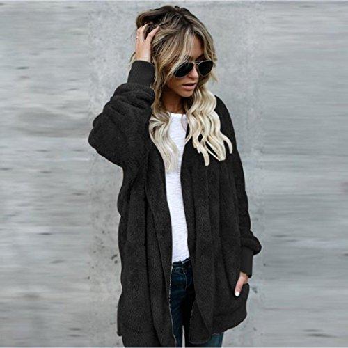 Hoodie Hiver Fausse Womens Veste C FNKDOR Fourrure Manteau Zip Gilet Outwear Chaud Casual Sherpa Noir Up 8WI8nE6