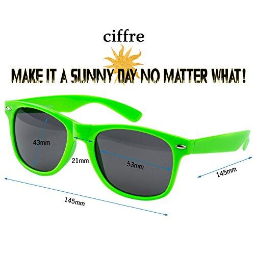 Neon clásico para mujer Gafas verde de hombre UV®400 Vintage Nerd Retro Nuevas Ciffre sol T7q4gxW