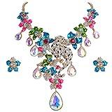 Best Bling Jewelry Friend Necklaces Animals - Ever Faith Women's Crystal Enamel Leopard Flower Teardrop Review
