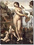"""Ceramic Tile Mural-Leonardo Da Vinci Nudes Kitchen Tile Mural 29. 18"""" w x 24"""" h using (12) 6 x 6 ceramic tiles"""
