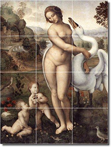 "Price comparison product image Ceramic Tile Mural-Leonardo Da Vinci Nudes Kitchen Tile Mural 29. 12.75"" w x 17"" h Using (12) 4.25 x 4.25 Ceramic Tiles"
