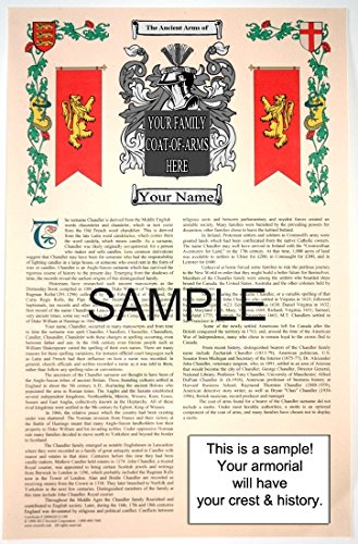 O'TAMANY - Armorial Name History & Coat of Arms Scroll - 11 x 17 inches (A3) - Family Crest - Genealogy - Heraldry - Heraldic