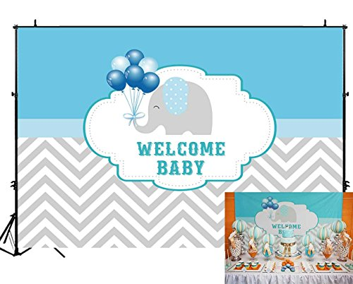 (Funnytree 7X5ft Blue Elephant Baby Shower Party Backdrop Balloons Stripes Chevron Welcome Decorations Photography Background Photo Banner)