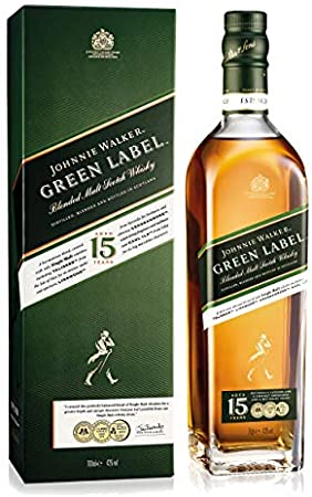 Johnnie Walker Green Label Set con Vidrio Tumbler Whisky Blended Whisky 15 años, Scotch, Alcohol, Botella, 43%, 700 ml