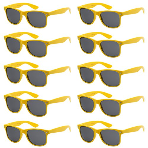 WHOLESALE UNISEX 80'S STYLE RETRO BULK LOT SUNGLASSES (Sunflower Yellow, Smoke)