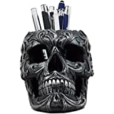 "Ebros Tribal Tattoo Floral Skull Pen Holder Figurine 5.75""L Office Desktop Ossuary Skull Head Stationery Holder"