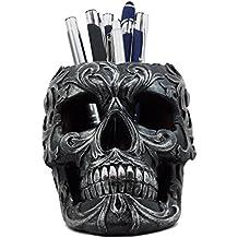 "Ebros Tribal Tattoo Floral Skull Pen Holder Figurine 5.75""L Office Desktop Ossuary Skull Head Stationery Holder"