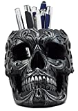 "Atlantic Collectibles Tribal Tattoo Floral Skull Pen Holder Figurine 5.75""L Office Desktop Ossuary Skull Head Stationery Holder"