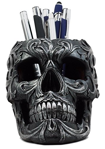 Ebros Gift Tribal Tattoo Floral Skull Pen Holder Figurine 5.75