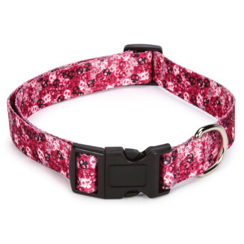 Casual Canine Polyester Bone Heads Dog Collar, 14 to 20-Inch, Pink