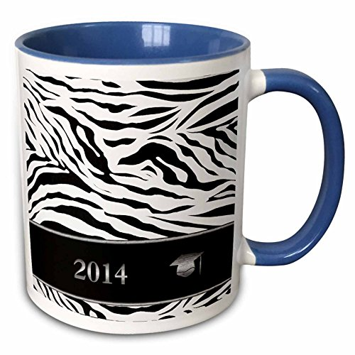 3dRose Beverly Turner Graduation Design - 2014 Zebra Print with Graduation Cap, Black and White - 15oz Two-Tone Blue Mug (mug_180905_11) (Graduation Zebra Invitation)