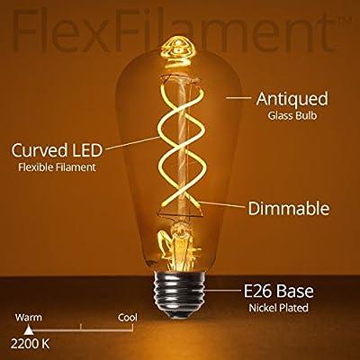 LED Edison Light Bulb, LED Filament Vintage Bulb Dimmable Edison Bulb LED Filament Vintage Bulb, Flexible Filament, Single Bulb