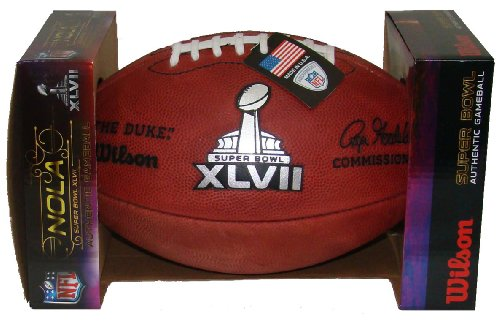 Wilson Super Bowl 47 (XLVII) Official NFL Leather Game Football - with Team Names SF 49ers vs Baltimore Ravens