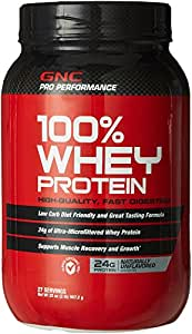 Amazon.com: GNC 100% Whey Protein 24g 27 Servings Naturally Unflavored: Health & Personal Care