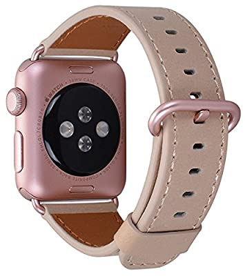 PEAK ZHANG Apple Watch Band 38mm 42mm Genuine Leather Replacement Wrist Strap Rose Gold Adapter and Buckle for iWatch Series 3/2/1/Edition/Sport