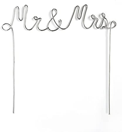 Amazon Com Mr Mrs Silver Metal Cake Topper Office Products