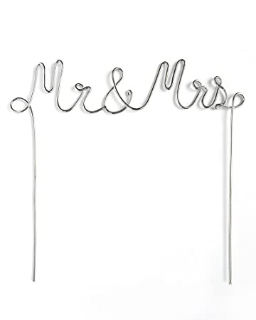 Mr Mrs Silver Metal Cake Topper Amazon In Office Products