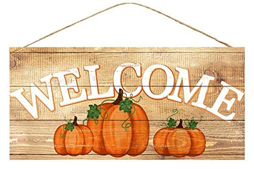 Pumpkin Patch Door - Rustic Pumpkins Wooden Welcome Sign - 12.5 x 6