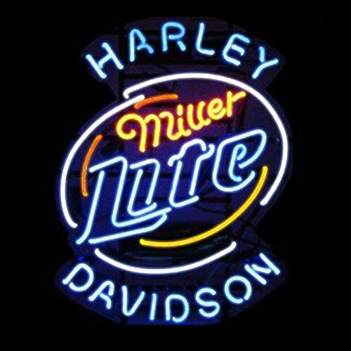 ¡Miller Lite artesanal cristal auténtico cartel de neón con letrero de cerveza de Bar hogar 48,26 cm x 15 - pulgada, la...