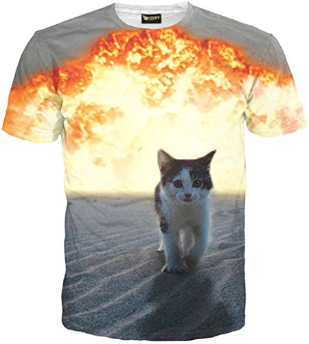 Pizoff Unisex Collage Short Sleeve Crew Neck 3D Digital Funny Bomb Cat Print T Shirts Y1625-40-S (T-shirt Print Bombs)