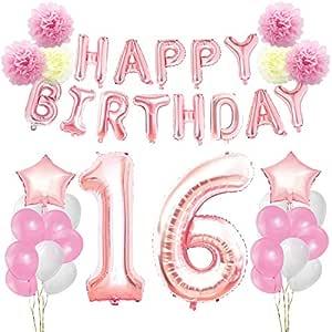 KUNGYO Decoraciones de Feliz Cumpleaños 16 Oro Rosa Happy Birthday Bandera Gigante Número 16 y Estrella de Helio Globos Cintas Flores de Papel Pom ...
