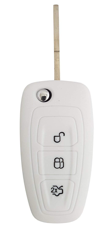 Portachiave Guscio Cover Chiave in Silicone per Telecomando Auto Ford 3 tasti vedere compatibilit/à nelle foto Fiesta Focus 2 Kuga Ka C-Max Mondeo Transit Tourneo ROSSO