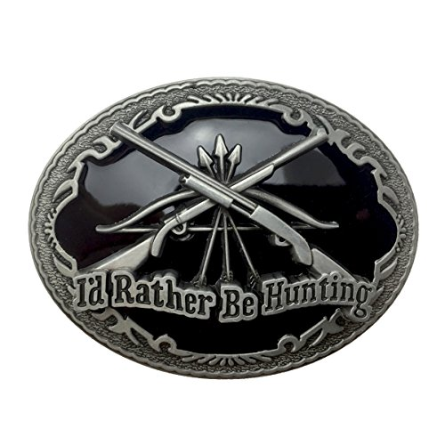 Lanxy Western Hunting Cross Rifle Oval Belt Buckle For Men Black Enamel Grey Tone