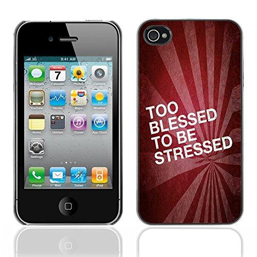 DREAMCASE Citation de Bible Coque de Protection Image Rigide Etui solide Housse T¨¦l¨¦phone Case Pour APPLE IPHONE 4 / 4S - TOO BLESSED TO BE STRESSED