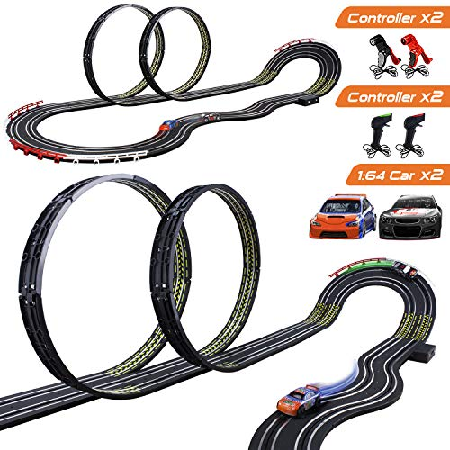 Cusocue High Speed Electric Powered Super Loop Speedway Slot Car Track Set with Two Cars for Dual Racing, Boys Toys for 3 4 5 6 7 8-16 Years Old Kids Best Gifts