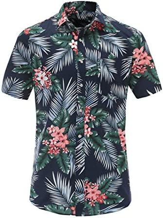 LFNANYI Verano Hawaiano Camisa de Manga Corta Hombres Algodón Flamencos Floral Impreso Casual Vestido Camisas Hombres Ropa Moda 3XL: Amazon.es: Deportes y aire libre